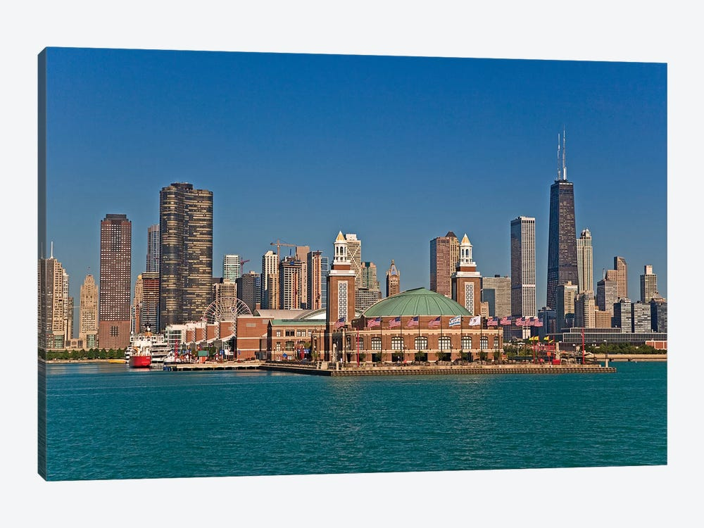 Navy Pier And Downtown Skyline, Chicago, Cook County, Illinois, USA by Joe Restuccia III 1-piece Canvas Print
