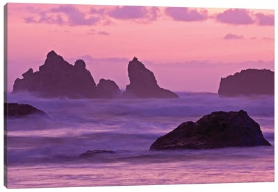Sea Stacks At Sunset, Bandon State Natural Area, Coos County, Oregon, USA Canvas Art Print