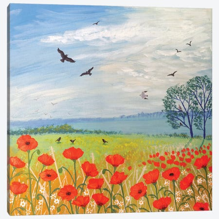 Poppy Breeze Canvas Print #JOG10} by Jo Grundy Canvas Artwork