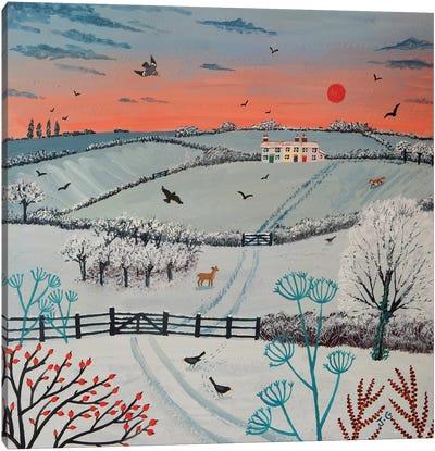Sunset Over Winter Hills Canvas Print #JOG15