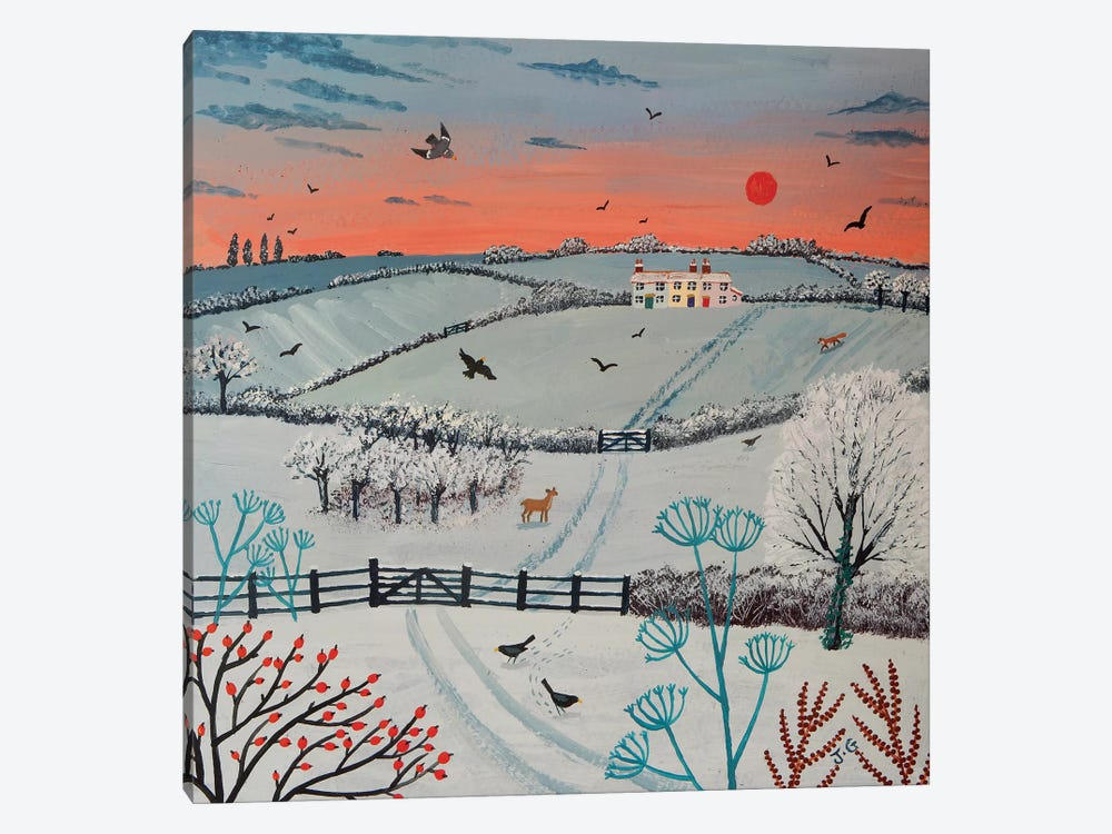 Sunset Over Winter Hills by Jo Grundy 1-piece Canvas Print