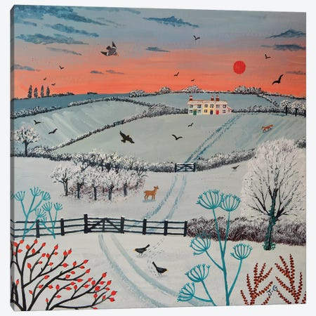 Sunset Over Winter Hills Canvas Print #JOG15} by Jo Grundy Canvas Print
