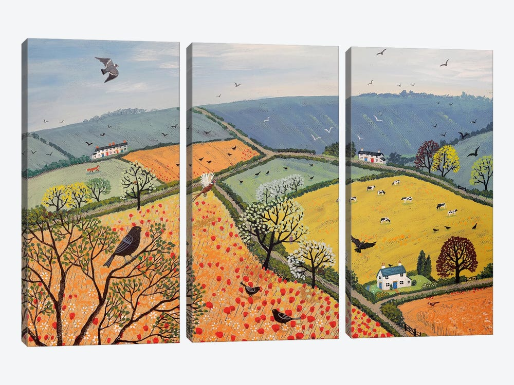 The View From Poppy Hill by Jo Grundy 3-piece Canvas Wall Art