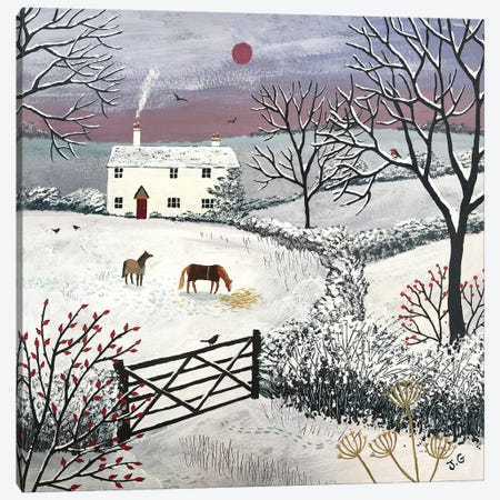 Winter Grazing Canvas Print #JOG19} by Jo Grundy Canvas Wall Art