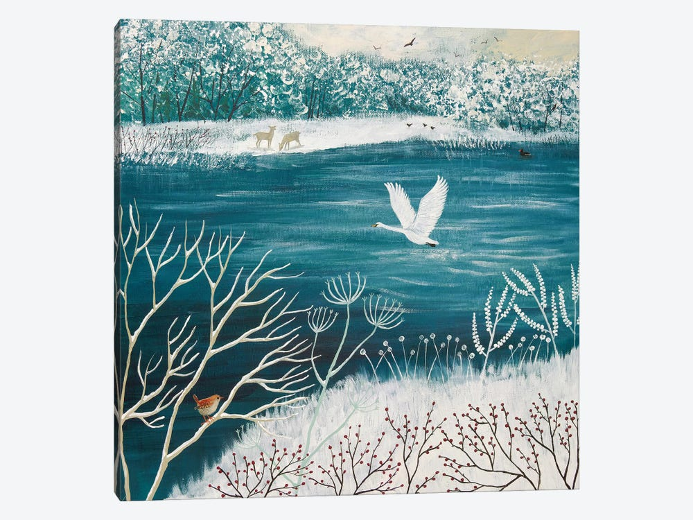 Across Winter Lake by Jo Grundy 1-piece Canvas Art