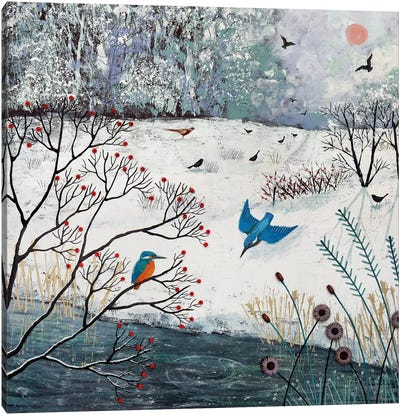 Winter Kingfishers Canvas Art Print