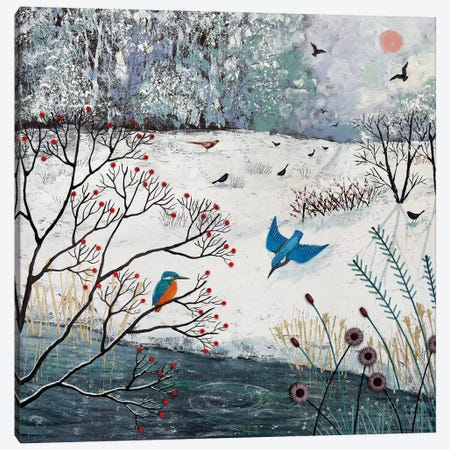 Winter Kingfishers Canvas Print #JOG21} by Jo Grundy Art Print