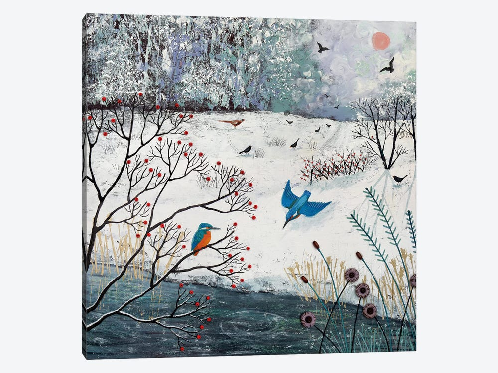 Winter Kingfishers 1-piece Canvas Artwork