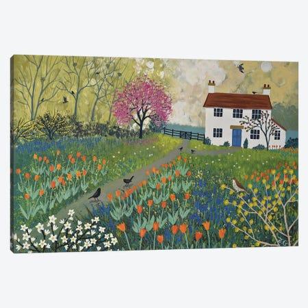 Spring At Tulip Cottage Canvas Print #JOG29} by Jo Grundy Art Print