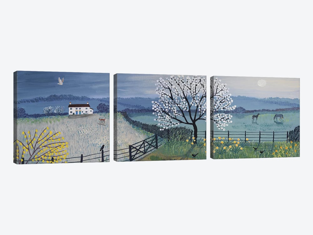 Spring Moon by Jo Grundy 3-piece Canvas Artwork