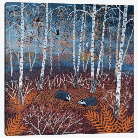 The Badgers Of Autumn Wood Canvas Print #JOG32} by Jo Grundy Canvas Wall Art