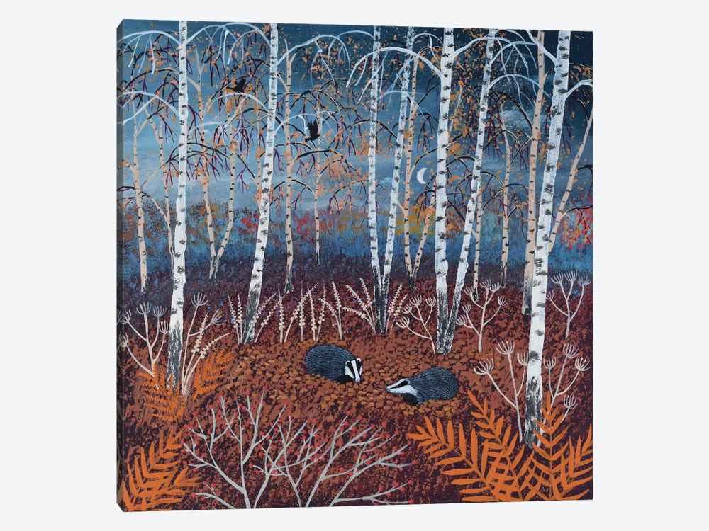 The Badgers Of Autumn Wood by Jo Grundy 1-piece Canvas Art