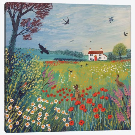 The House By Summer Meadow Canvas Print #JOG33} by Jo Grundy Canvas Wall Art