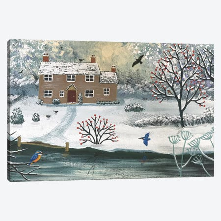 Winter At Kingfisher Cottage Canvas Print #JOG34} by Jo Grundy Art Print