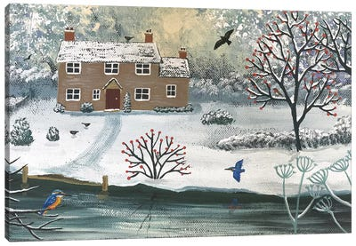 Winter At Kingfisher Cottage Canvas Art Print