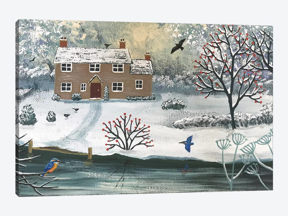 Winter At Kingfisher Cottage by Jo Grundy 1-piece Canvas Wall Art