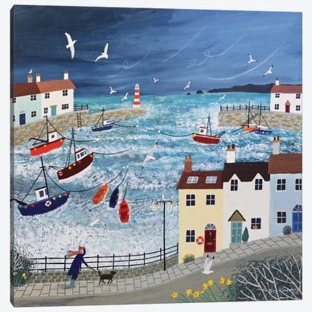 Stormy Harbour Canvas Print #JOG38} by Jo Grundy Canvas Art