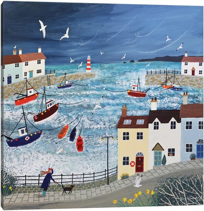 Stormy Harbour Canvas Art Print