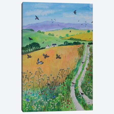 Down Harvest Lane Canvas Print #JOG39} by Jo Grundy Canvas Wall Art