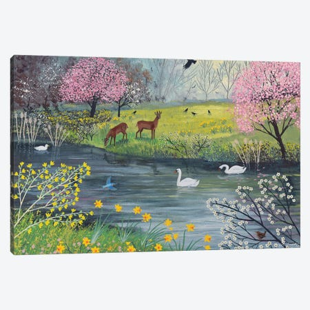 By Spring River Canvas Print #JOG42} by Jo Grundy Canvas Art Print