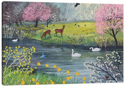 By Spring River Canvas Art Print