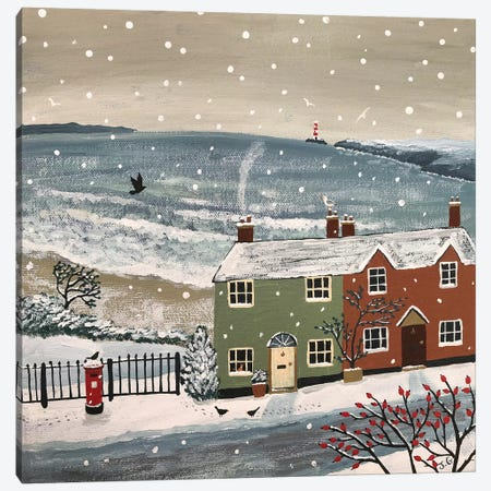 Snowing By The Sea Canvas Print #JOG49} by Jo Grundy Canvas Art Print