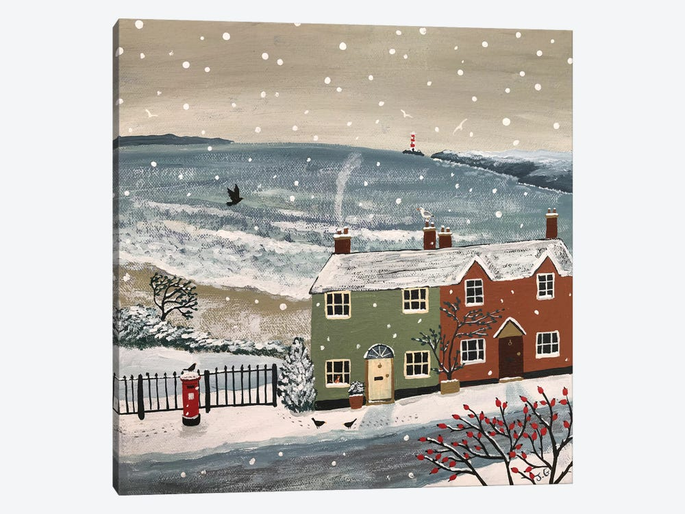 Snowing By The Sea by Jo Grundy 1-piece Canvas Art