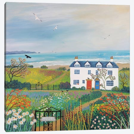 Beach View Cottages Canvas Print #JOG4} by Jo Grundy Canvas Artwork