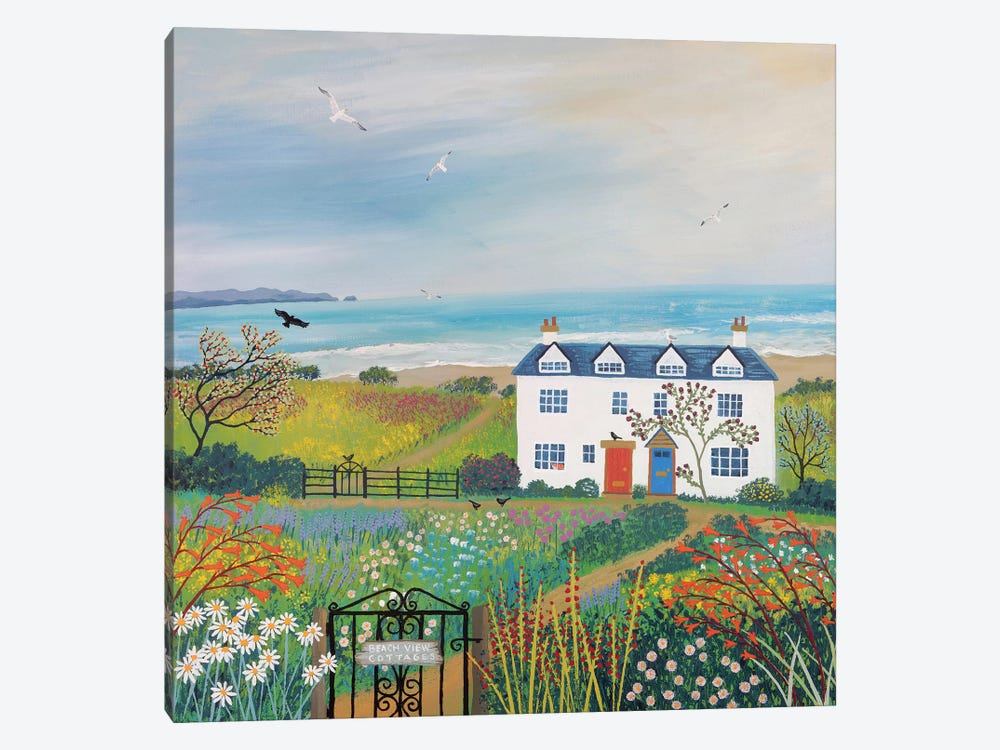 Beach View Cottages by Jo Grundy 1-piece Art Print