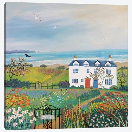 Beach View Cottages Canvas Print #JOG4} by Jo Grundy Canvas Artwork