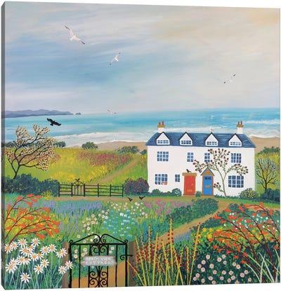 Beach View Cottages Canvas Art Print