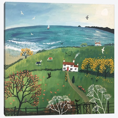 Autumn Beside The Sea Canvas Print #JOG50} by Jo Grundy Canvas Artwork