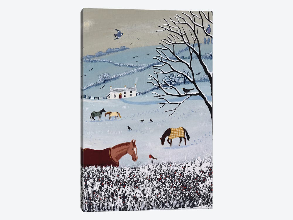 Over Snowy Hedge by Jo Grundy 1-piece Canvas Artwork