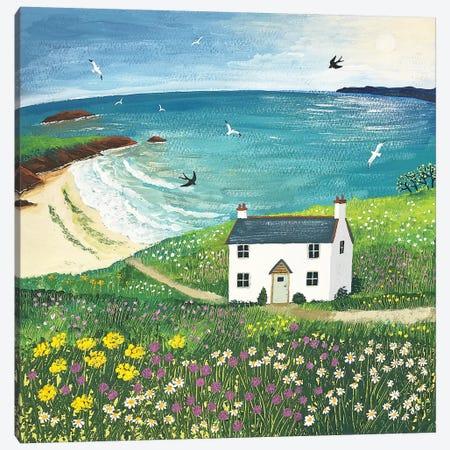 Seaside Cottage Canvas Print #JOG57} by Jo Grundy Canvas Print