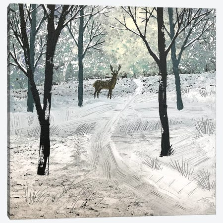 Stag In The Snow Canvas Print #JOG58} by Jo Grundy Canvas Artwork