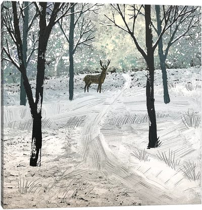 Stag In The Snow Canvas Art Print