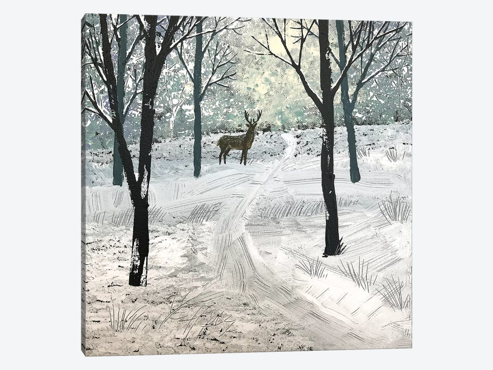 Stag In The Snow by Jo Grundy 1-piece Canvas Wall Art