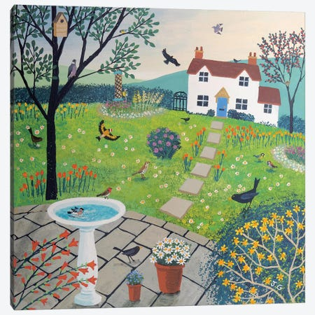 Bird Garden Canvas Print #JOG5} by Jo Grundy Canvas Artwork