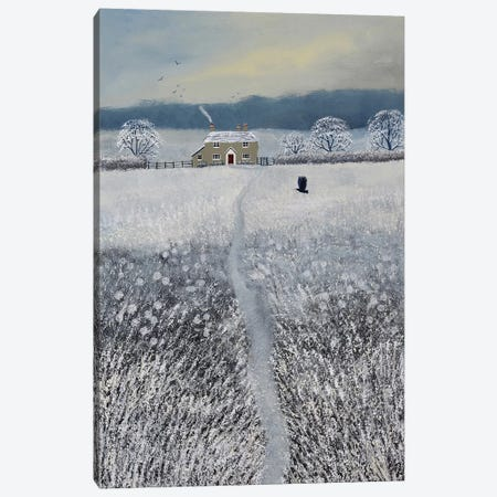 The Path To Winter Cottage Canvas Print #JOG68} by Jo Grundy Art Print