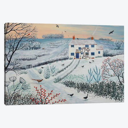 Cottage By Winter Common Canvas Print #JOG6} by Jo Grundy Canvas Wall Art