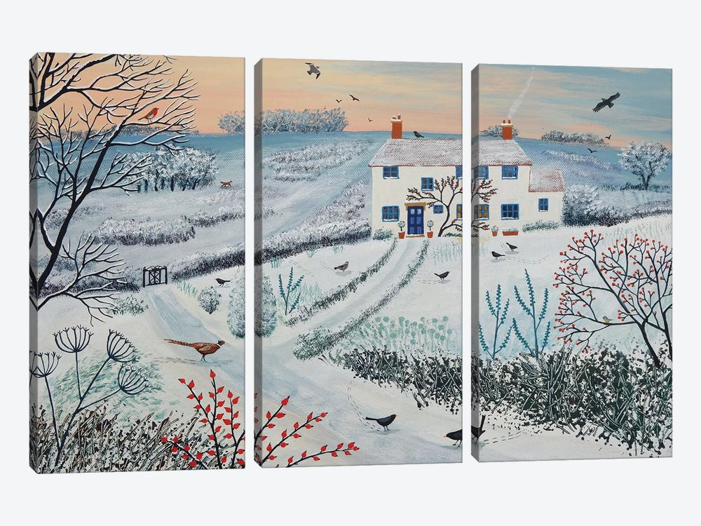 Cottage By Winter Common by Jo Grundy 3-piece Canvas Art Print