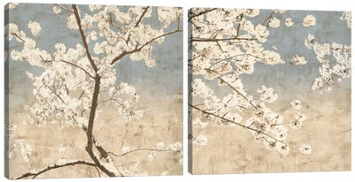 Cherry Blossoms Diptych Canvas Art Print
