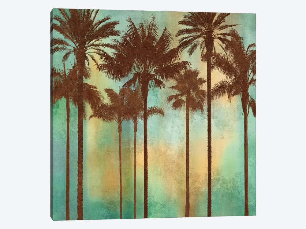 Aqua Palms II 1-piece Canvas Print