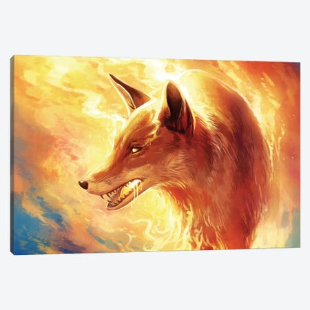 Fire Fox Canvas Print #JOJ11} by JoJoesArt Canvas Print