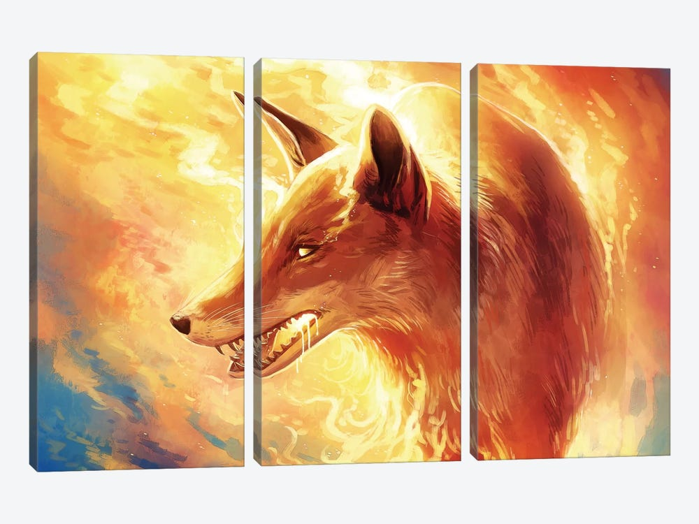 Fire Fox by JoJoesArt 3-piece Canvas Wall Art