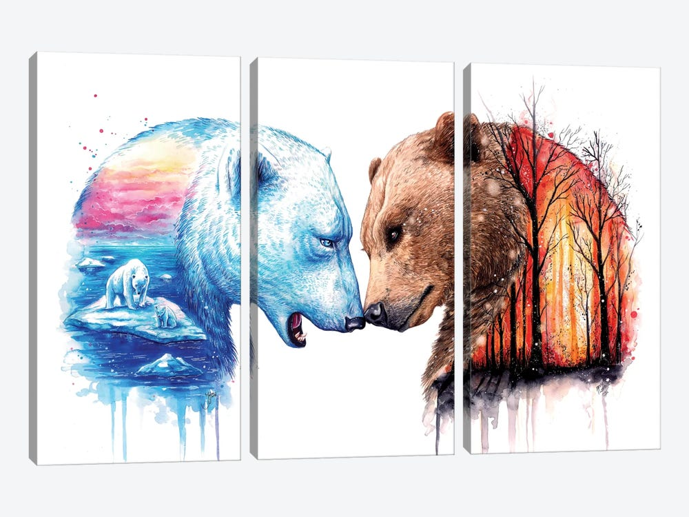 We Are In This Together by JoJoesArt 3-piece Canvas Art Print