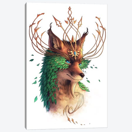 Fox Colored Canvas Print #JOJ30} by JoJoesArt Art Print