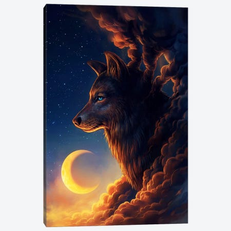 Golden Moon Canvas Print #JOJ32} by JoJoesArt Canvas Print