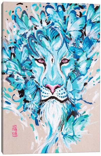 Azure Lion Canvas Art Print
