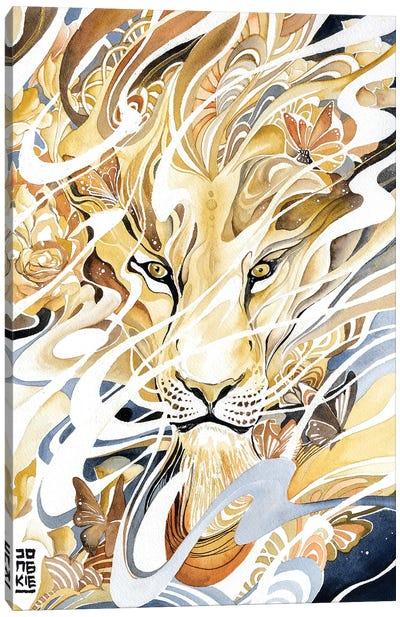 Golden Desert Lion Canvas Art Print
